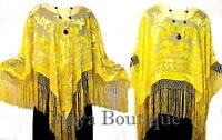 Canary Yellow Poncho Fringe Shawl Top Silk Burnout Velvet Maya Matazaro
