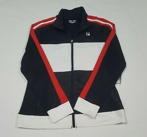 Fila Womens Full Zip Front Stripe Sport Track Jacket Black white red