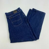 Lee Jeans Mens 46X30 Blue Straight Leg Regular Fit Medium Wash 5 Pockets Design