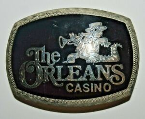 Vintage 1970s THE ORLEANS CASINO Alligator Custom Silver Plated Belt Buckle RARE