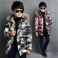 New Kids Boys Fur Hooded Coat Child Camo Winter Warm padded cotton Down Jackets