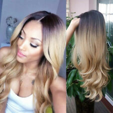 """22"""" Ombre Blonde Synthetic Hair Full Wigs Natural Long Wavy Wig Heat Resistant"""