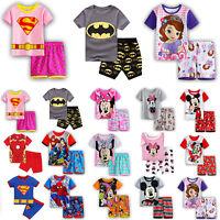 Toddler Kids Baby Boy Girl Pajamas Set Nightwear Sleepwear Top + Shorts Homewear
