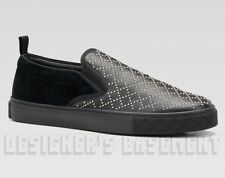 GUCCI mens 9G* Studded black leather & velvet BOARD slip on sneakers NIB Authent
