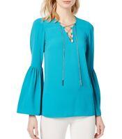 MICHAEL KORS Women's Chain-Detail Bell-Sleeve Blouse Shirt Top TEDO