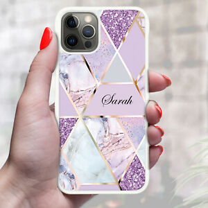 Personalised Marble Phone Case Cover For Apple Samsung Initial Name - Ref Z09