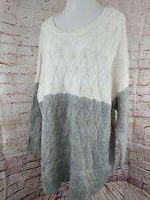 A New Day Women Knit Tunic Sweater Long Sleeve Sz 3X Ivory & Gray Crew Neck New