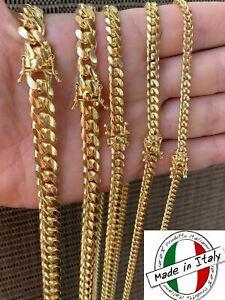 Cadena O Pulsera Cubana Para Hombre - Oro De 14k Sobre Plata Maciza 925 ITALIA