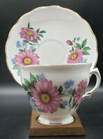 Royal Vale Bone China England Teacup & Saucer Pink Daisies Vintage