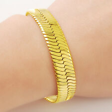 "Cool 24K Gold Plated Snake Bone Strong Men Chain Bracelet 10MM 8"" JH040"