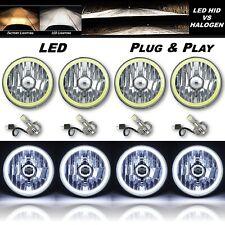 """5-3/4"""" White COB LED Halo Angel Eye Crystal Clear Headlamp 6k LED Bulb Set of 4"""