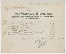 1919 People's Store Billhead New Cumberland West Virginia Produce Meat General