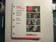 1990 Lucas alternators starters generators voltage regulators solenoids catalog
