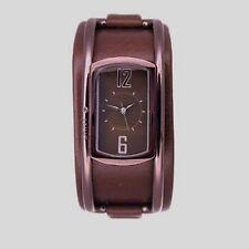 WOMEN DKNY NY3893 BRONZE STEEL LEATHER BRACELET CUFF WRIST WATCH timepiece karan