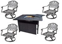 Outdoor conversation set fire pit propane deep seating Elisabeth 5pc aluminum.