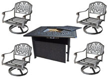 Outdoor conversation set fire pit propane deep seating Elisabeth 5pc aluminum.