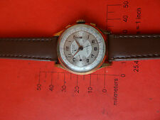 Old VINTAGE SWISS  WATCH ACTUA GENEVE ANCRE  chronograph 17  JEWELS GOLD 10 AU