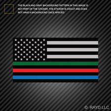 Thin Blue Line Sticker USA Flag with Red Blue Green Stripe Sticker american flag