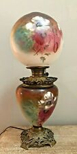 Antique Gwtw Oil Kerosine Banquet Parlor Gone With The Wind Hand Painted Lamp
