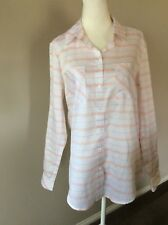 Target Peach White Striped Button Down Shirt Size 10 NWT