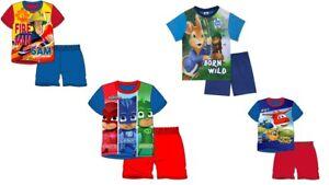 Boys Character Shorts Pyjamas PJ Mask Kids Nightwear Peter Rabbit Cotton Blue