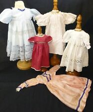 5 x dresses FOR ANTIQUE DOLL, DOLL CLOTHES, VINTAGE DRESSES, DOLL OUTFITS