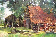 Karl Stachelscheid 1907-1970 Düsseldorf / Gemälde ländliche Idylle mit Hühnern