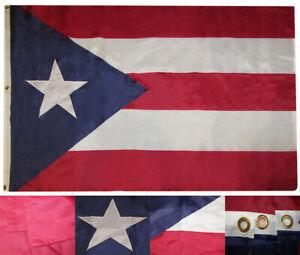 4x6 Embroidered Sewn Puerto Rico Dark Blue 300D Nylon Flag 4'x6' Brass Grommets