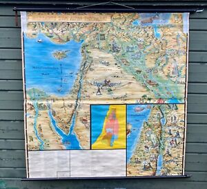A BEAUTIFUL ORIGINAL VINTAGE MAP OF THE OLD TESTIMENT CIRCA1960 130cm x 110cm