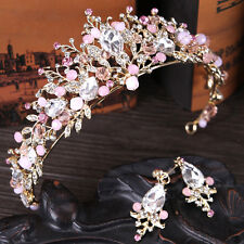 Baroque Drop Pink Bridal Tiara Crowns Earring Set Crystal Pageant Prom Headband