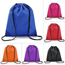 Unisex Plain String Drawstring Bag Sport Gym Swim PE School College Waterproof