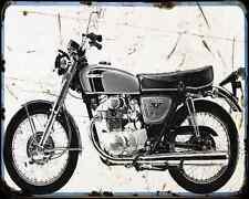 Honda Cb350 72 2 A4 metal sign moto Vintage Aged