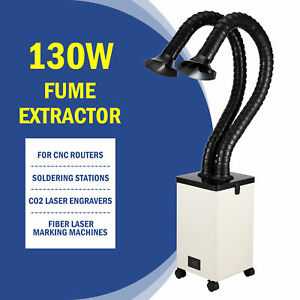 130W Fume Extractor 2 Intake 3 Filter Air Purifier for Laser Cutter CNC Machine