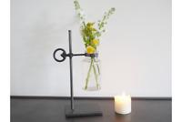 Industrial Style Metal & Glass Flower Holder Vase Jar