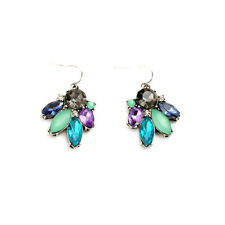 Exquiste Anthropolo​​gie Greta Green Blue Purple Grey Rhinestone Silver Earrings