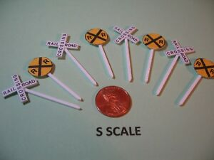 S SCALE SET OF 4 @ RAILROAD CROSSBUCKS & CROSSING SIGNS, CUSTOM-MADE, NEW
