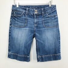 Banana Republic Classic Womens Shorts Denim Bermuda Medium Wash Flap Pocket