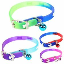 PU Leather Pet Dog Cat Collars With Bells Silicon Personalized Bone Patterns HOT