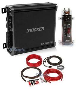 Kicker 43CXA6001 1200W Car Audio Power Amplifier + 2 Farad Capacitor + Amp Kit