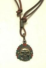 Native Indian Chief Head Leather Necklace - Collar Red