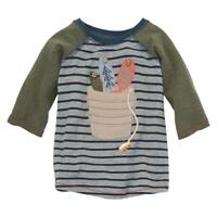 Mud Pie Kids Bucket of Fish Applique and Embroidered Boys Striped T-Shirt