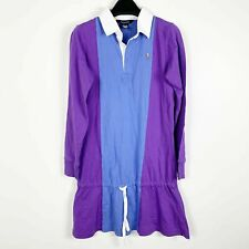Polo Ralph Lauren Girls Long Sleeve Pony Tennis Dress Sz XL (16) Purple Blue NWT