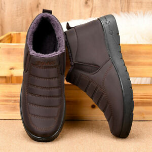Mens Winter Warm Fleece Lined Ankle Snow Boots Casual Comfy Slip On Flats Shoes