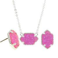 Women's AB Iridescent Druzy Studs Earrings and Cute Necklace Jewelry Set Gift