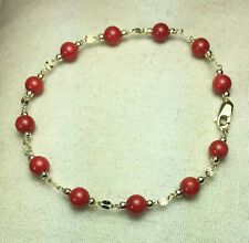 14k solid yellow gold 5mm round ball natural Red Coral bracelet 7 1/2 inches
