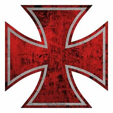"765 ProSticker 5"" Rat Rod Red Iron Cross Decal Sticker Distressed Parts Gasser"