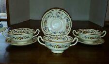 Royal Doulton The Beaufort Set of 3 Cream Soup Bowls & Saucers