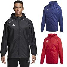 Adidas Core18 Rain Jacket Coat Hood Waterproof Sport Football Zipped Men Black