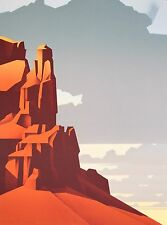 "Ed Mell ""Red Rock Afternoon"" Original Stone Limited Edition Lithograph"
