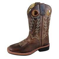 Smoky Mountain Boys Jesse Square Toe Western Cowboy Boot,4.5 Big Kid-Brown Waxed
